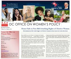 DC Office on Women's Policy newsletter